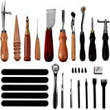 Knoweasy Leather Carft Tools Kit 18 Pcs,Stitching Carving Working Sewing Saddle Groover Leather Craft DIY Tool, Keep Way…