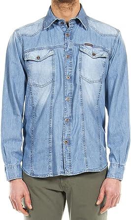 Carrera Jeans - Camisa Jeans 210 para Hombre, Estilo Western, Ajustado, Manga Larga: Amazon.es: Ropa y accesorios