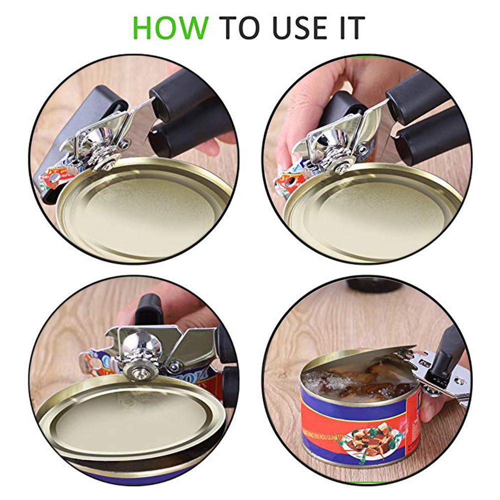 Can Opener, Manual Can Opener Smooth Edge with Sharp Stainless Steel Comfortable Ergonomic Handle by Muoam (Image #3)