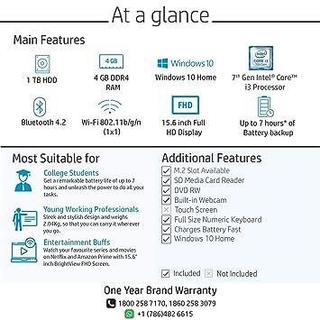 HP 15 Core i3 7th gen 15 6-inch Laptop (4GB/1TB HDD/Windows 10 Home/Natural  Silver/2 04 kg), 15-DA0326TU