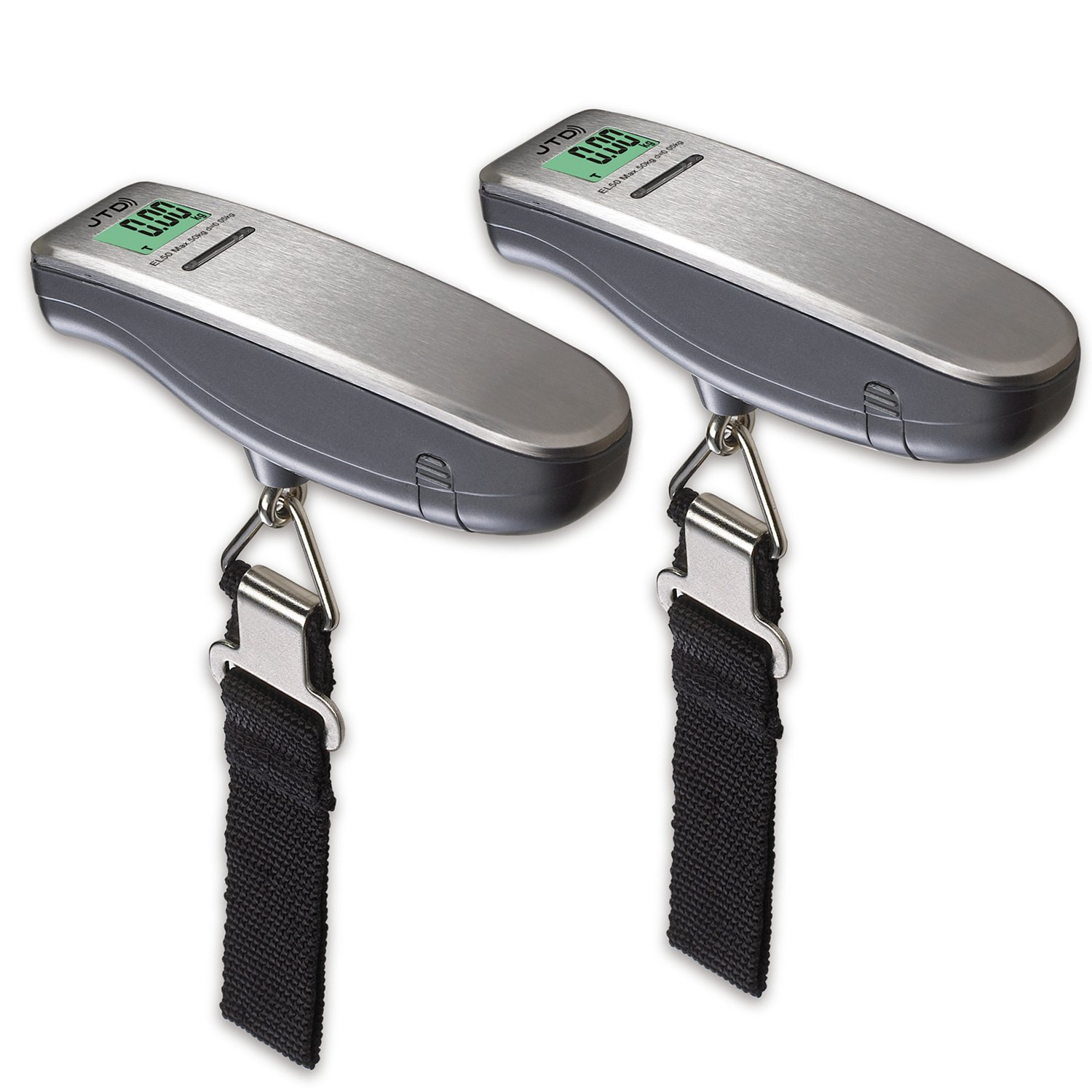 JTD ® 2-PACK Digital Hanging Luggage Scale Large LCD Display 110 LB for Travel and Home Use (Silver)