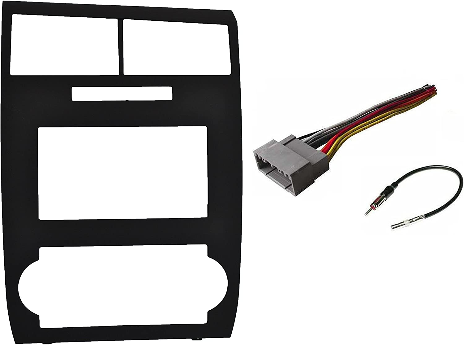 Amazon.com: Factory Matched Black Double Din Dash Kit Aftermarket Radio  Stereo Installation Kit + Wire Harness + Antenna Adapter Compatible with  Dodge Charger 2006-2007 Magnum 2005-2007Amazon.com
