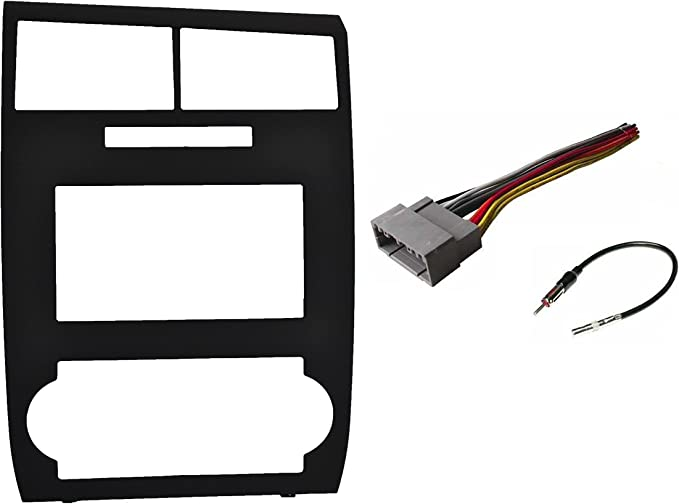 Antenna Adapter Compatible with Dodge Charger 2006-2007 Magnum 2005-2007 Wire Harness Factory Matched Black Double Din Dash Kit Aftermarket Radio Stereo Installation Kit