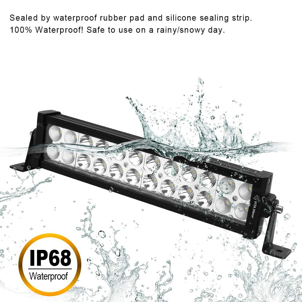 YITAMOTOR Led Light Bar Wiring Harness 72W 14Inch Led Work Light Spot Flood Combo LED Light Pods Offroad Driving Light Waterproof Led Light 4WD ATV 4X4 SUV Truck Boat Car 12V,2 Years Warranty