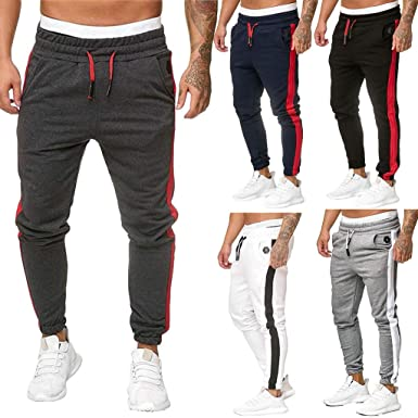 Uomo Coulisse Jeans Pantaloni Sportivi Fitness Sport Casual Palestra Tuta