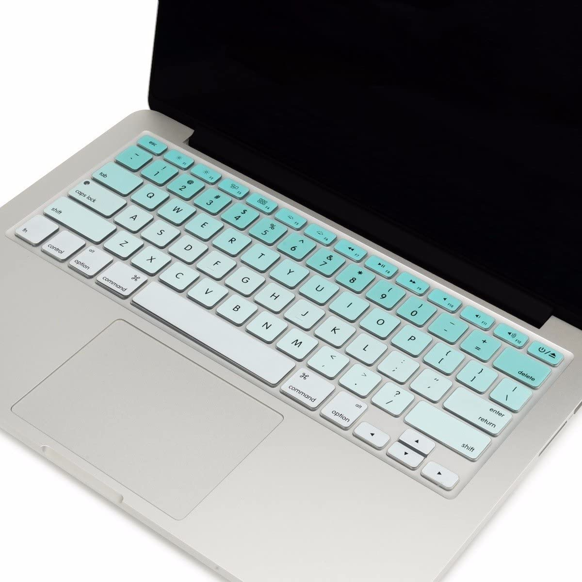 "TOP CASE - Faded Ombre Series Keyboard Cover Skin Compatible with MacBook 13"" Unibody/Old Generation MacBook Pro 13"" 15"" 17""/MacBook Air 13""/Wireless Keyboard - Ombre Aqua Blue &White"