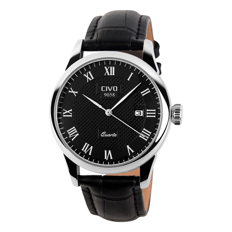 CIVO Men's Luxury Date Calendar Wrist Watches Men Casual Business Dress Waterproof Watch Simple Design Fashion Classic Analogue Quartz Watches for Men (Black)