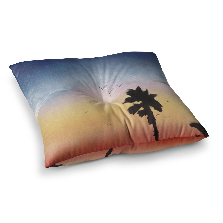 Kess InHouse Infinite Spray Art Carlsbad Sunset Coastal Painting 23 x 23 Square Floor Pillow