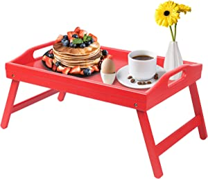 Bed Tray Table Folding Legs with Handles Kids Breakfast Food Tray for Sofa Eating,Drawing,Platters Bamboo Serving Lap Desk Snack Tray(Small Size Red)