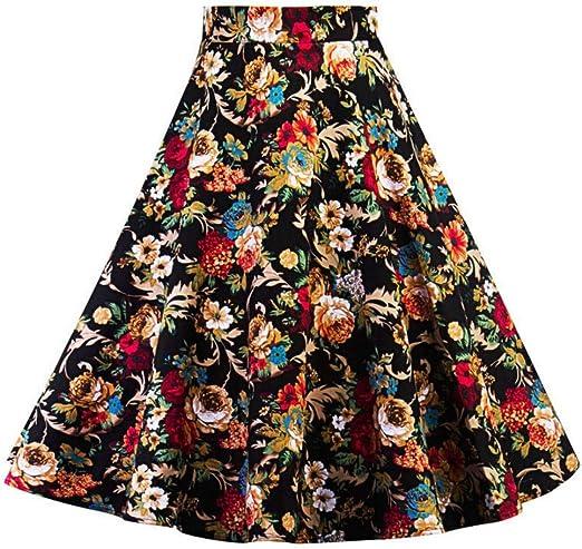 QZBTU Faldas Mujer Falda Floral Pin Up Swing Faldas, S: Amazon.es ...