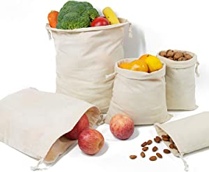 TOPDesign 10-Pack Mixed Reusable Produce Bags, Muslin Bags with Drawstrings for Shopping & Storage, 100% Natural Cotton Bags, Washable, Biodegradable, Food Safe