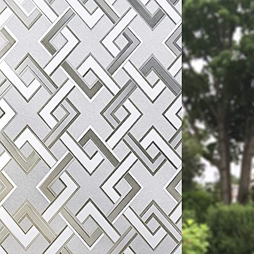 Finnez Window Film Decorative Privacy Film 3D No Glue Holographic Glass Sticker Rhombus Diamond Pattern for Glass Door Home House Ofiice 35.4 x 157.4 inches
