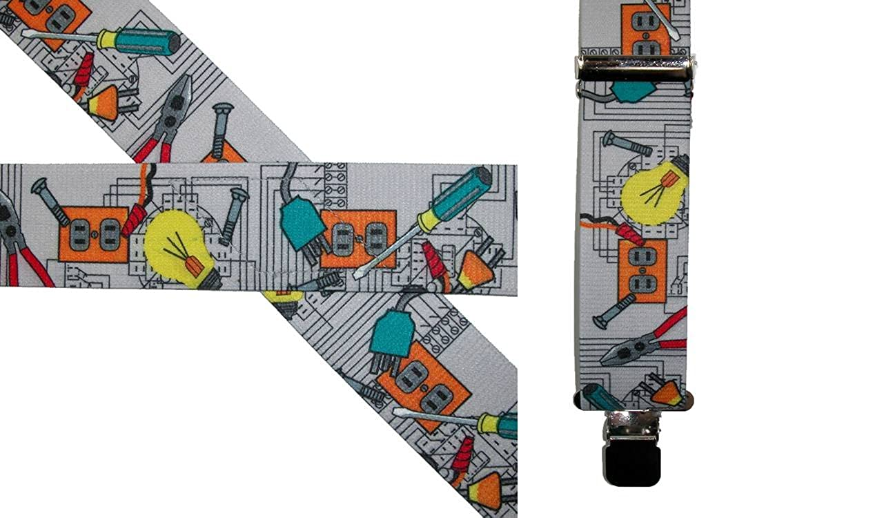 CTM Mens Big /& Tall Elastic Electrician Clip End Work Suspenders