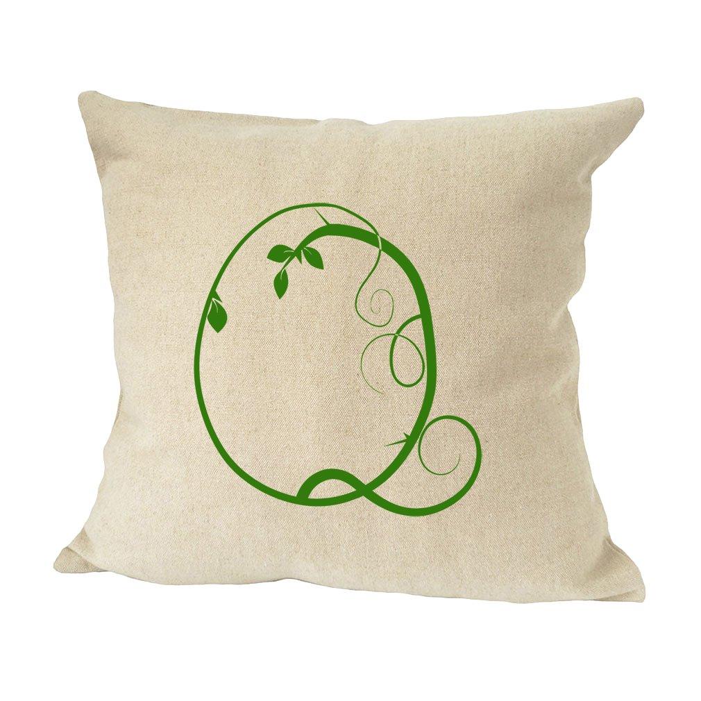 ''Q '' Wood Branch Green Monogram Letter Q Bed Home Decor Faux Linen Pillow Cover