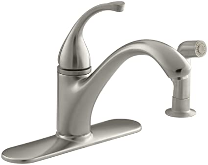 Kohler 10412 Bn Forte R 4 Hole Sink 9 1 16 Spout Matching Finish Sidespray Kitchen Faucet Vibrant Brushed Nickel