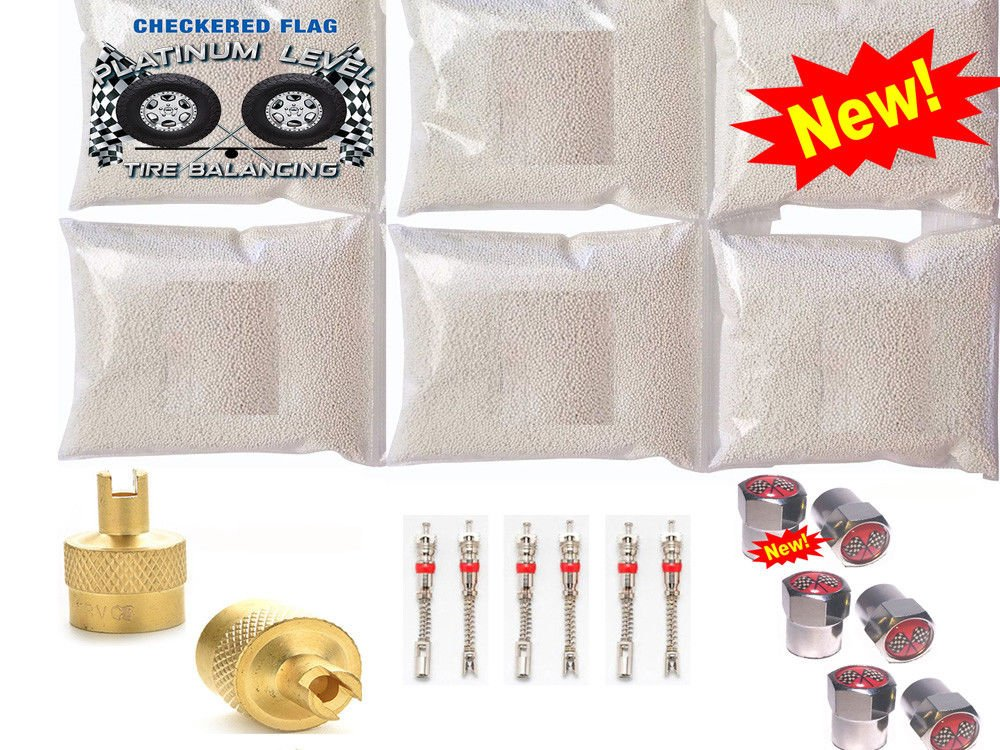 Checkered Flag Tire balance Beads, no lead and no damage tire beads, 6-10oz bags of tire balancing beads with filtered valve cores, red caps,1 gold core tool w/our white smooth balancing beads