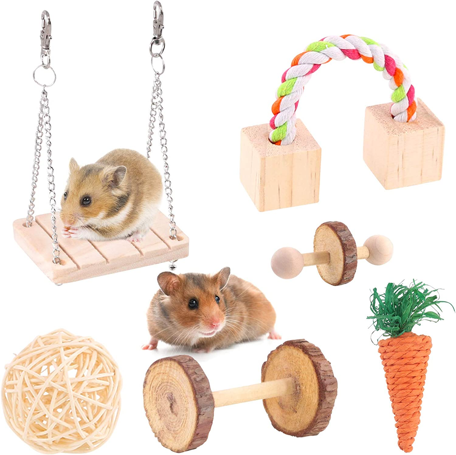 Hamster Chew Toys Wooden Rabbit Molar Toy Hanging Small Animals Chewing Exercise Toy for Rabbit Chinchilla Hamster Guinea Pig