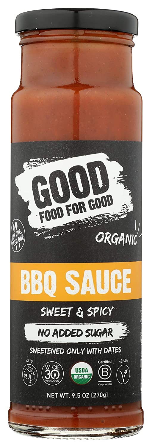 Good Food For Good, Sauce Barbeque Sweet Spicy Organic, 9.5 Ounce