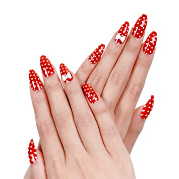ejiubas red acrylic nails christmas nail art bow tie for nails design 24 pcs 12 sizes long fake nails with glue amazonin beauty