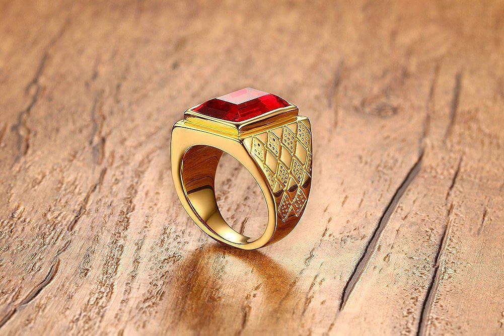 HIJONES Hombres Acero Inoxidable Cl/ásico 18MM 18k Oro Chapado Piedra del zod/íaco Anillos con Piedra