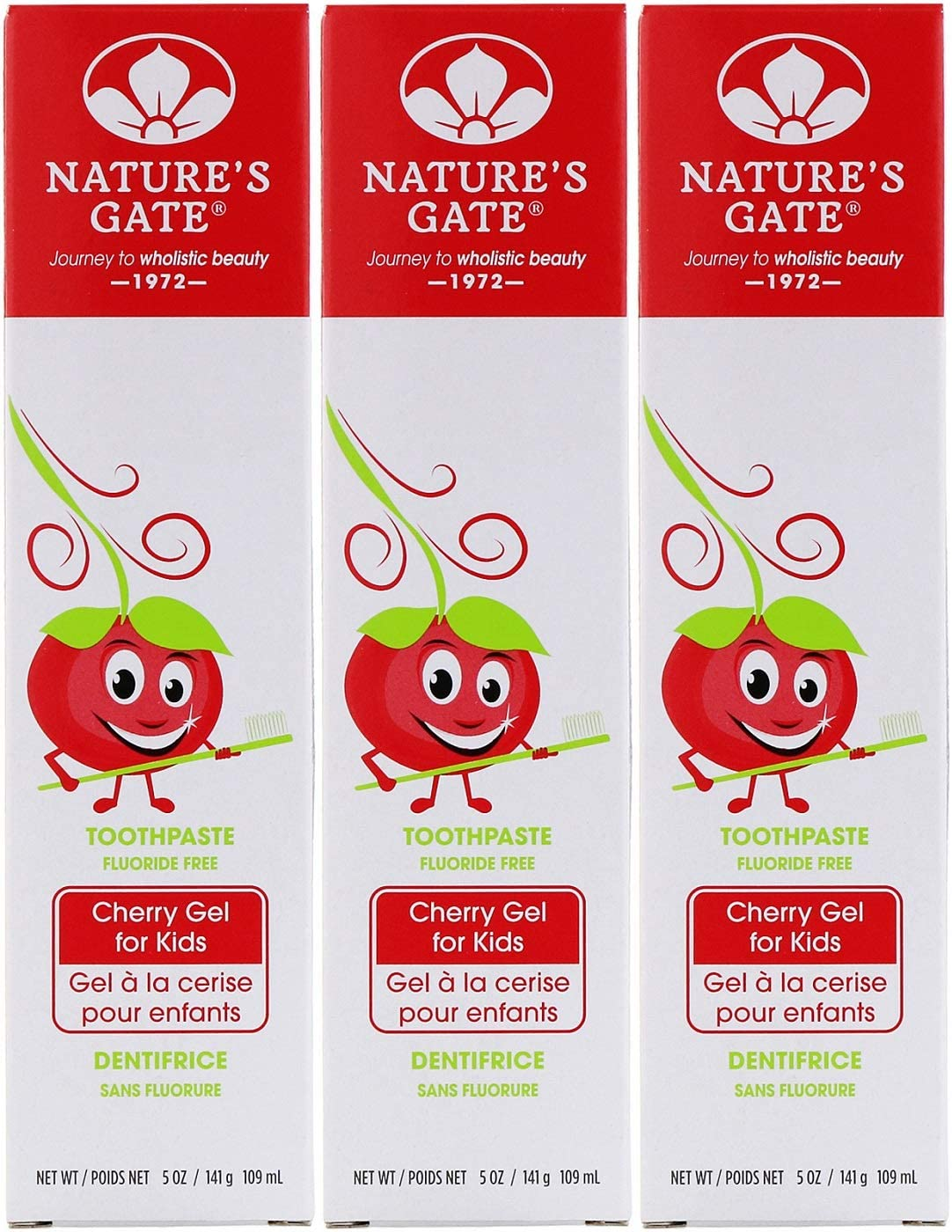 Nature's Gate, Fluoride Free Toothpaste, Cherry Gel for Kids, 5 oz (141 g)(pack of 3)