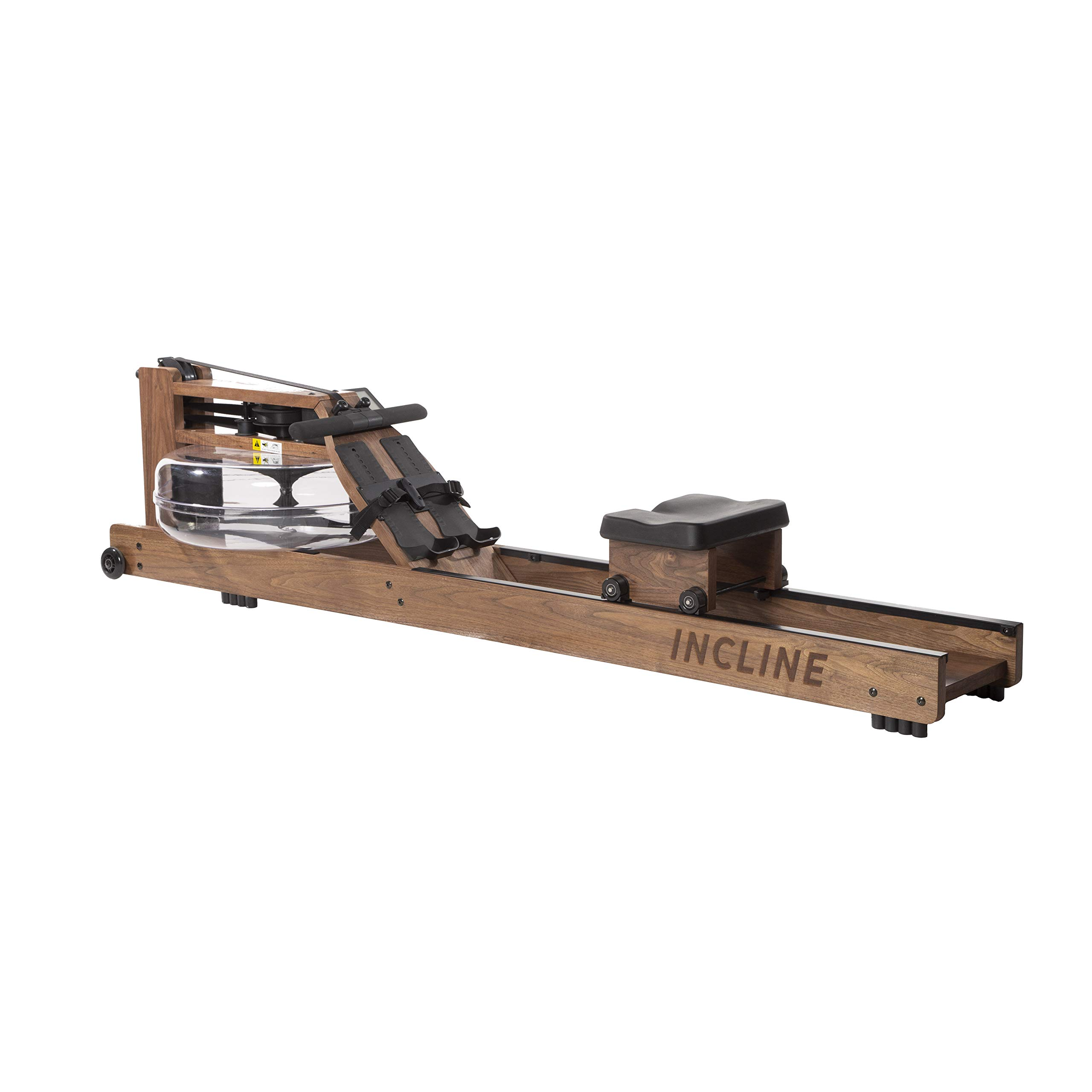 Incline Fit Wood Water Rowing Machine with Monitor, Walnut