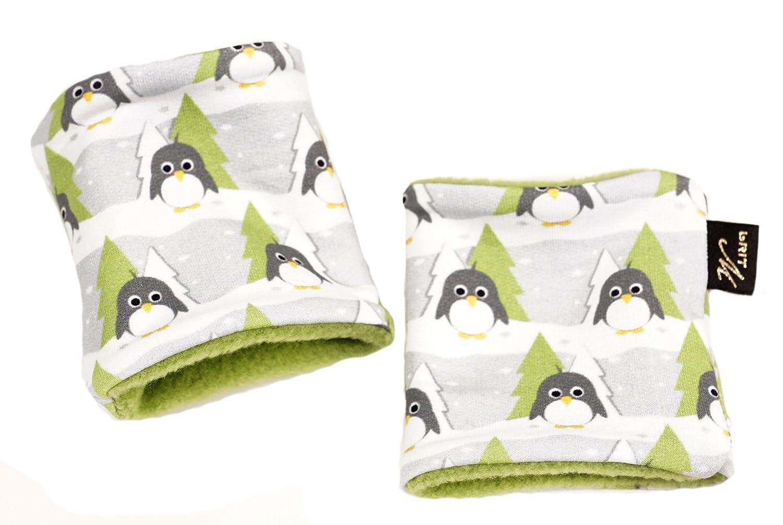 16526 | Pulswärmer für Kinder, Kurz-Stulpen Tiny Pingu Label brit-M, Handgearbeitet in unserem Atelier in Deutschland