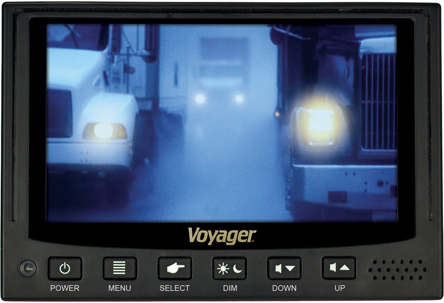 Voyager VOM74WP Heavy Duty 7'' QuadView Multi-Screen Rear/Back View Color LCD Monitor with 4 Camera Inputs and 6 Triggers; Single Image, Split-Screen, or QuadView View Modes; Built-In Audio Speaker