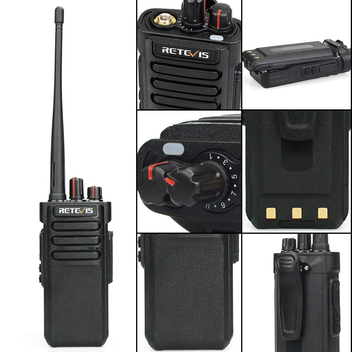 Black, 6 Pack USA7024A@5-C9003A@5 Retevis RT29 2 Way Radios Long Range 3200mAh UHF Encryption Hands Free Scrambler Alarm Walkie Talkies Rechargeable with Super Clear Audio
