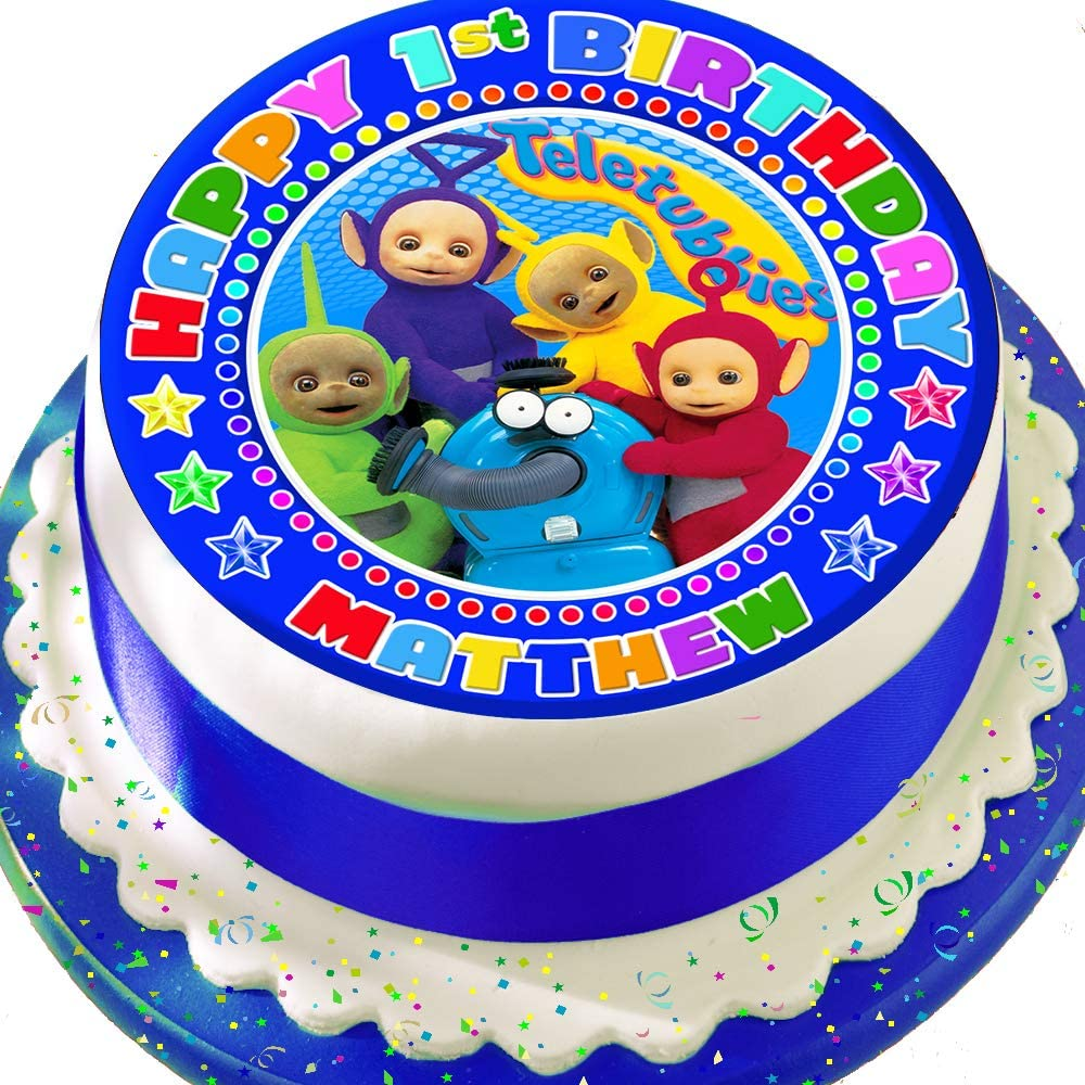 Admirable Teletubbies Blue Personalised Precut 7 5 Inch Cake Topper Edible Birthday Cards Printable Nowaargucafe Filternl