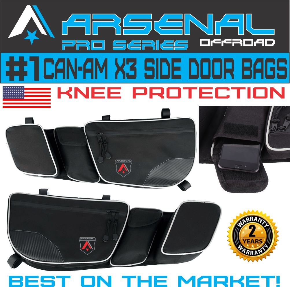 Arsenal Pro Door Bags for Can Am Maverick X3 2017 2018 Passenger & Driver Side Dual Storage Bag with Knee Protection (1Pair)