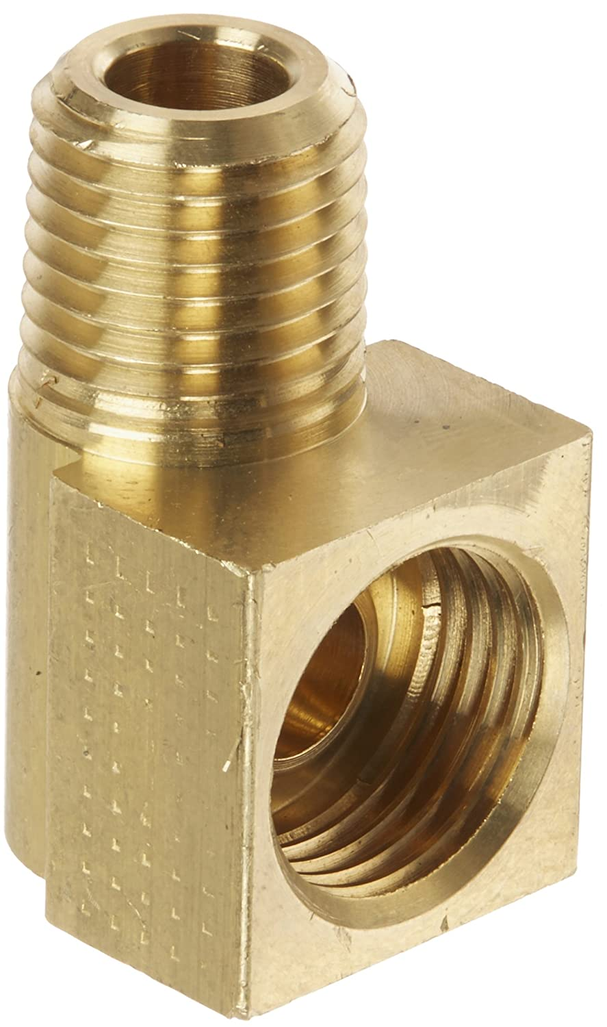"""BRASS 90* 1//8/"""" PIPE TO 1//4/"""" ?? INVERTED FLARE TUBE ADAPTER"""