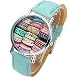 JSDDE Jolie Française Montre Bracelet Motif Macaron Dessert Coloré à Quartz Analog Cadran Argent Cuir PU Bleu Pers