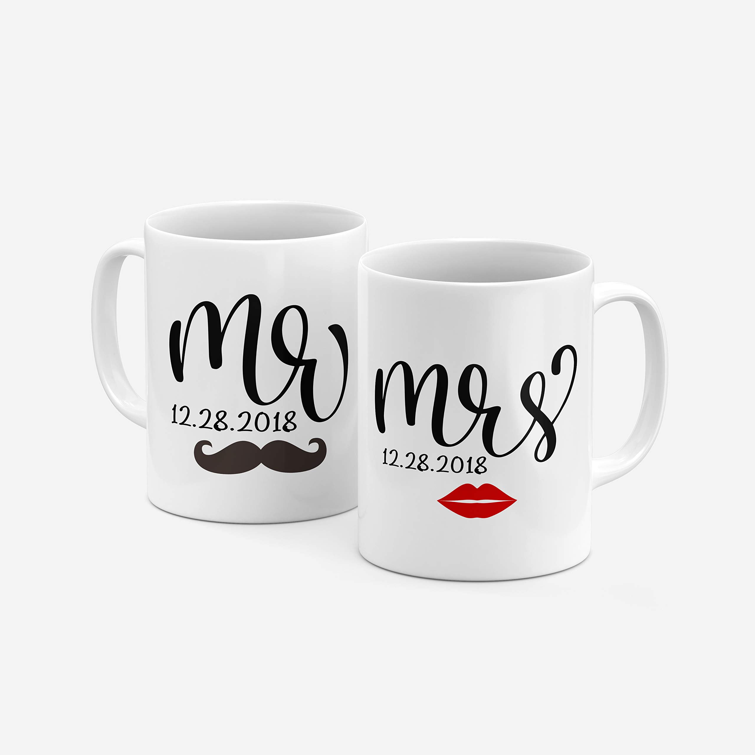 Mr and Mrs Couple Matching Coffee Mug Gifts with Your Name - 9 Different Designs - Wedding Favors,Party Favors, Groomsmen Gifts, Housewarming Gifts -Design 7