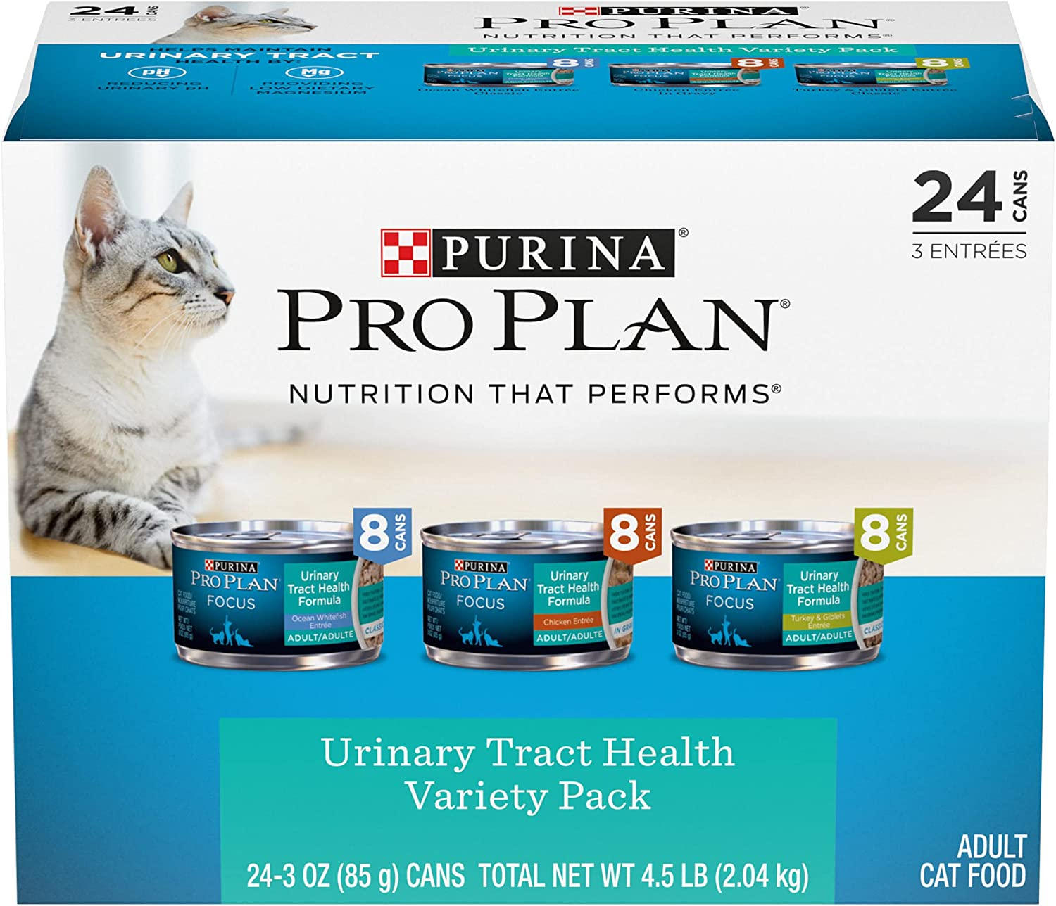 Purina Pro Plan Focus Classic Urinary Tract Health Formula Adult Wet Cat Food Variety Pack, 3 oz., Count of 24