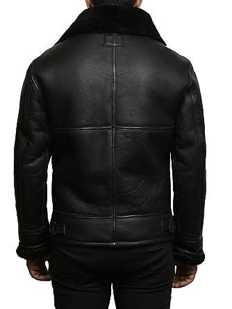 Brandslock Mens Real Shearling Sheepskin Leather Flying Jacket