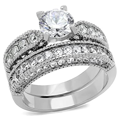 vintage style stainless steel cz bridal wedding ring set 5 - Vintage Wedding Ring Set