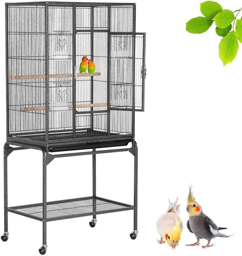 Yaheetech Jaula para Pájaroas Jaula Grande con Soporte Pie Jaula para Loros Mascota Jaula con Ruedas 136 cm