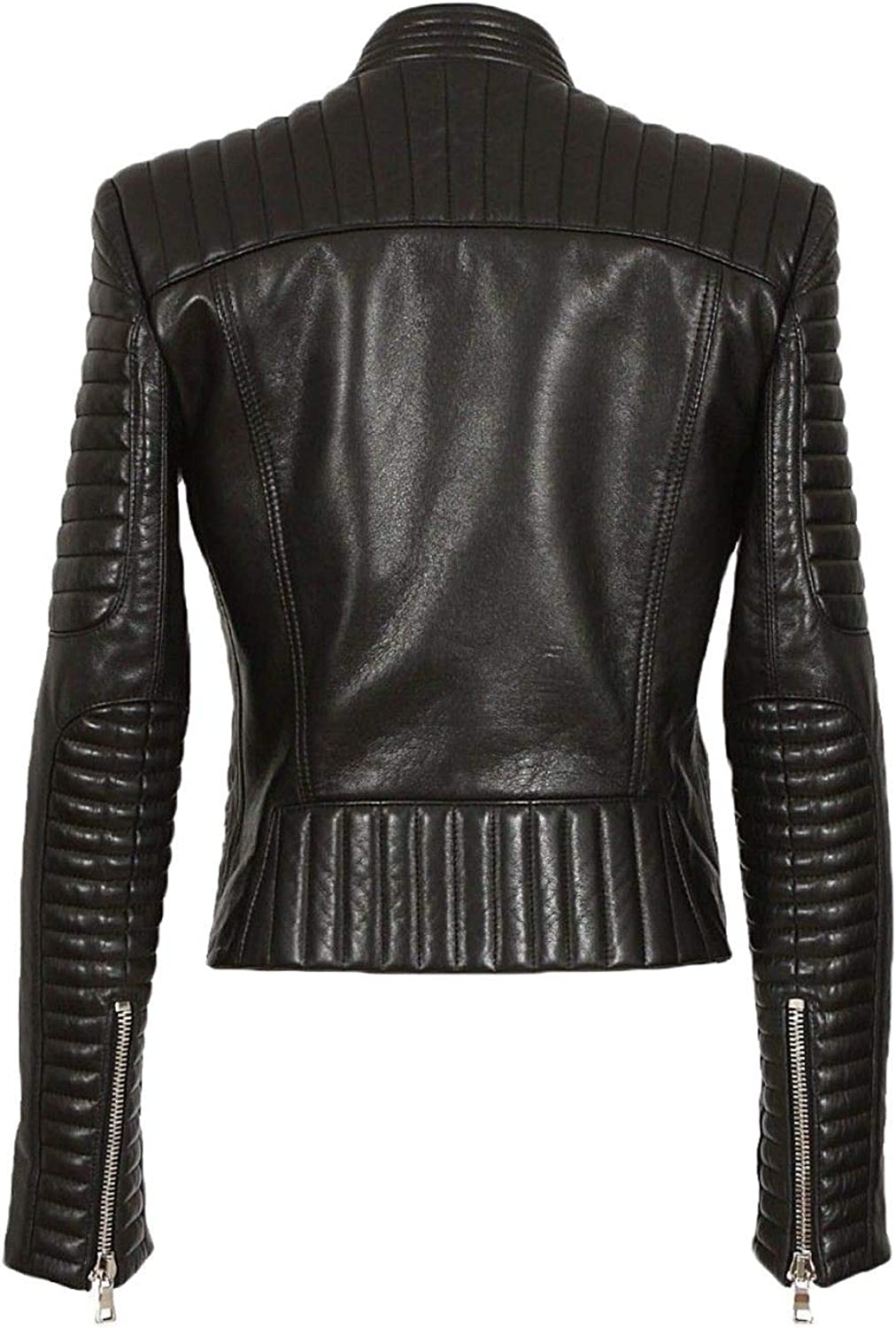 Pristine Leather Womens Lambskin Leather Motorcycle Rider Biker Racer Black Jacket WJ-172