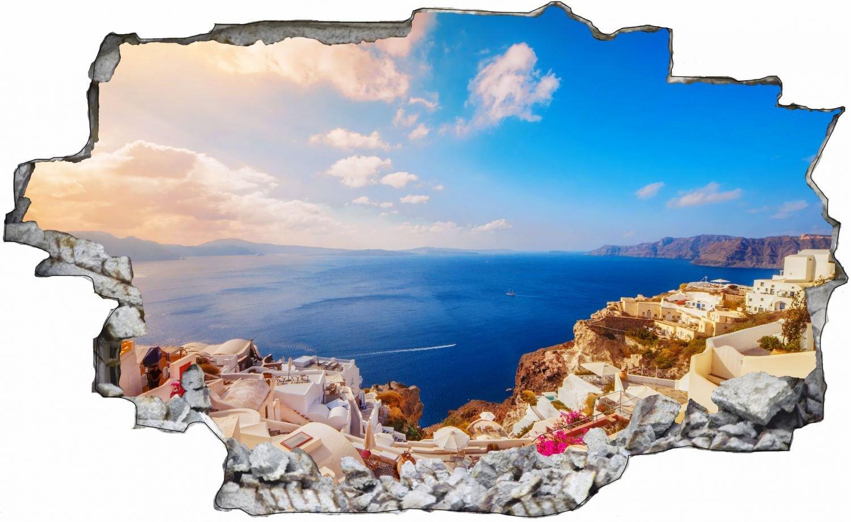 Griechenland Küste Meer Stadt Wandtattoo Wandsticker Wandaufkleber C0271