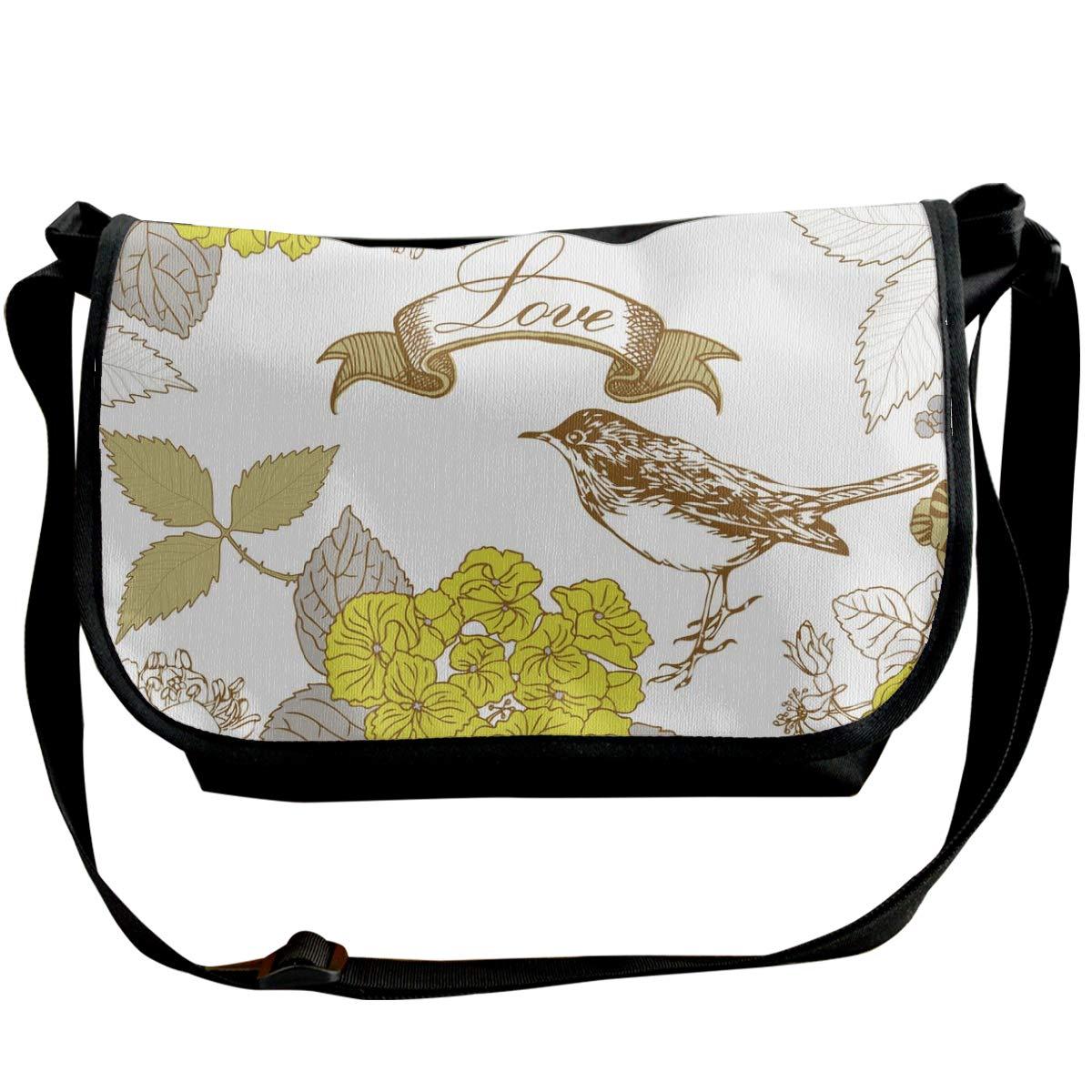 Taslilye Vintage Love Birds Pattern Vector Image Customized Wide Crossbody Shoulder Bag For Men And Women For Daily Work Or Travel