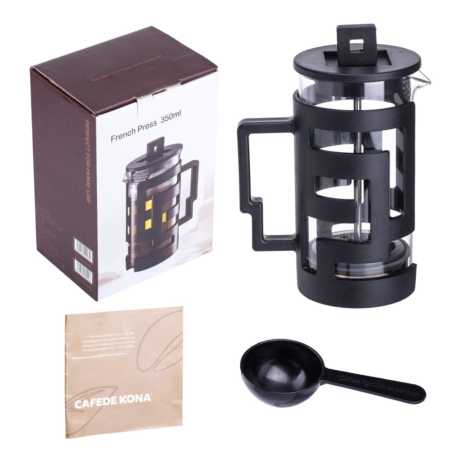 Zeroomade French Press Coffee Maker Stainless Steel&Glass Mini French Press Best Camping Coffee Press Pot Heat-Resistant Coffee Press Black 12 OZ(350ML)