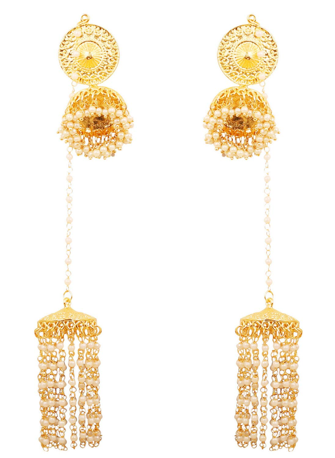 Touchstone Indian Bollywood Faux Pearls Hangings Exclusive Kashmere Traditional Grand Designer Jewelry Chandelier Jhumki Earrings for Women in Gold Tone.