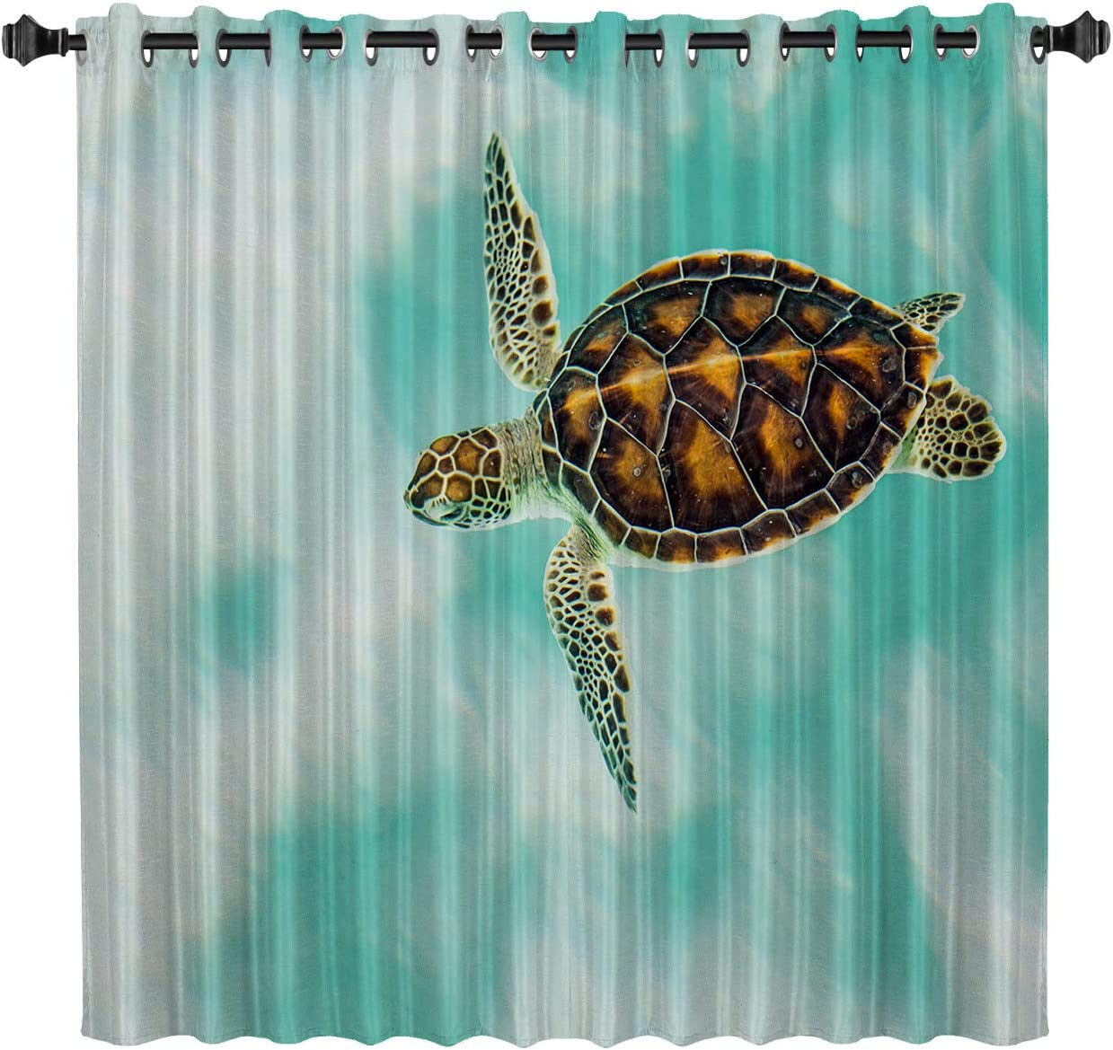 """Custom Art Panel Sea Turtle Blackout Curtain by, Ocean Animal Art Decor Window Draperies & Curtains for Apartment Bedroom Living Room Kitchen Cafe Office, 52"""" W by 45"""" L"""