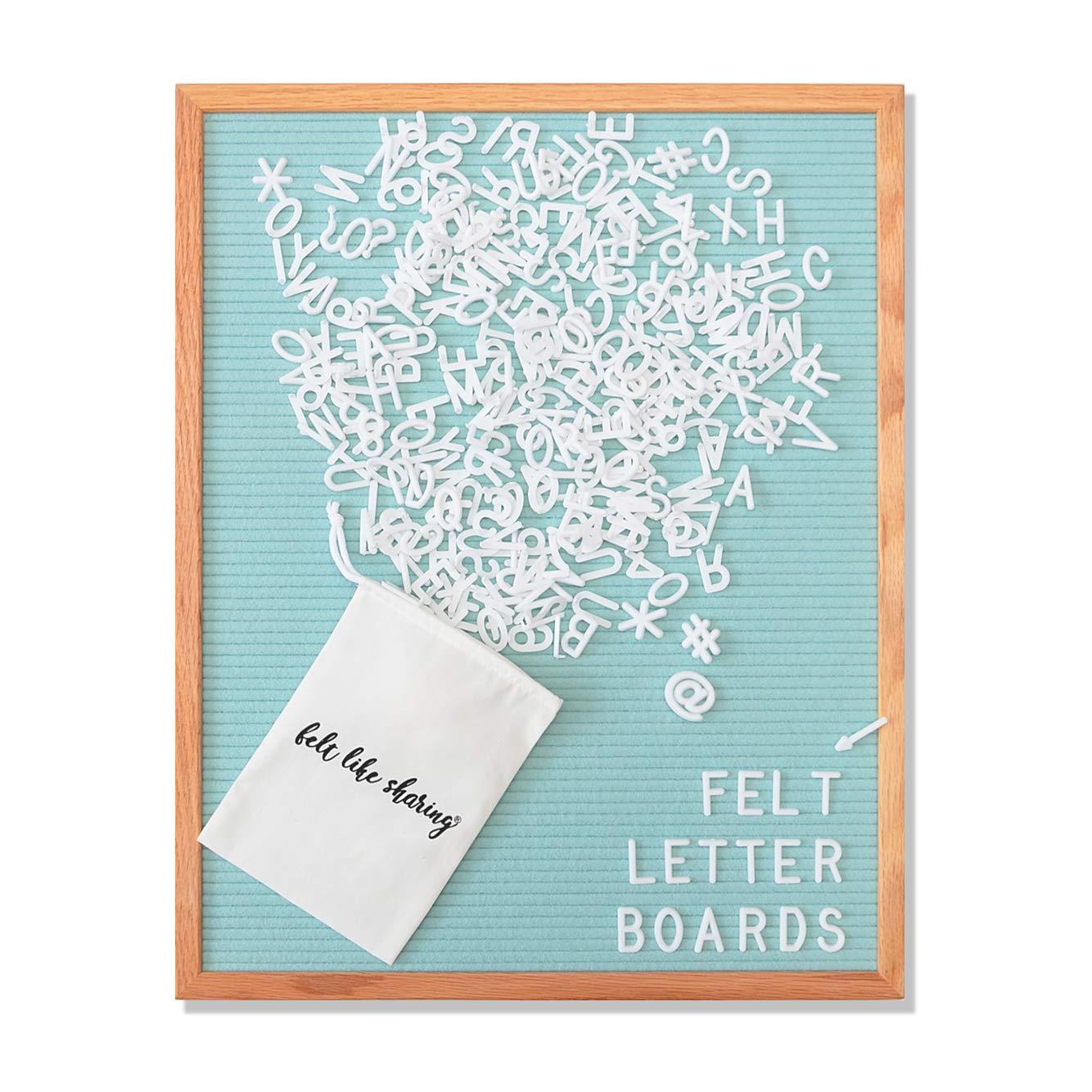 Seafoam Green Felt Letter Board 16x20 Inches. Changeable Letter Boards Include 348 1'' White Plastic Letters & Oak Frame.