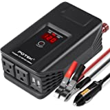 POTEK 300W Power Inverter DC 12V to AC 115V Digital Display Car Inverter with Dual AC Outlets and Dual USB Charging Ports