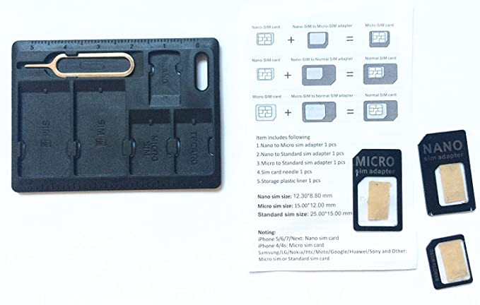 detailed look f5ba3 97810 4 in 1 SIM Card adapter Storage Holder with 3 pcs Adapters + 1 Iphone Eject  Pin tool as picture display.(Noting:NO Memory card) (Black 4 in 1)