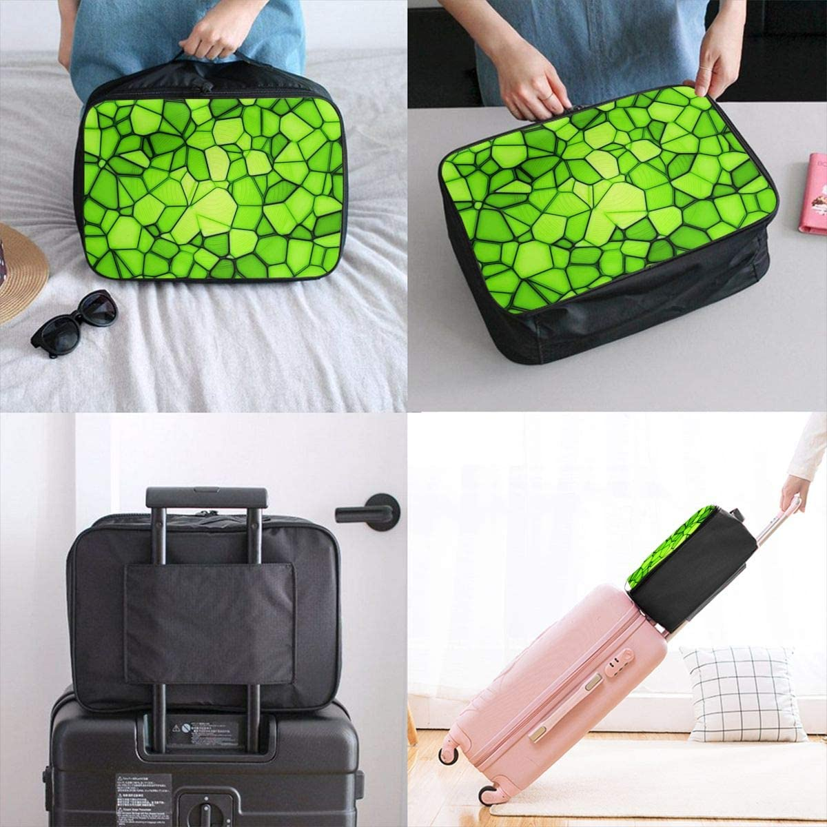 Yunshm Squares Triangles Light Green Texture Wallpaper Personalized Trolley Handbag Waterproof Unisex Large Capacity For Business Travel Storage