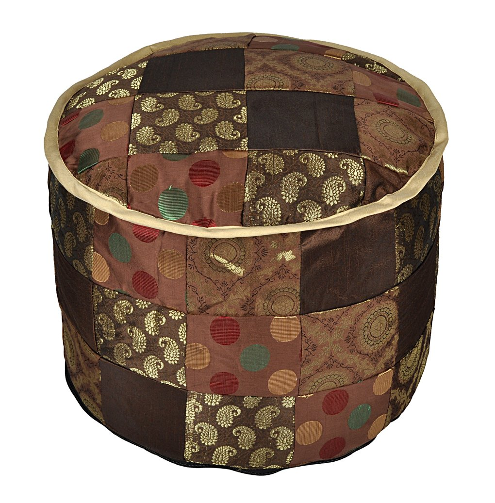 Lalhaveli Room Decorative Handmade Patchwork Silk Ottoman Cover 17 X 17 X 13 Inches Lal Haveli OTM01163