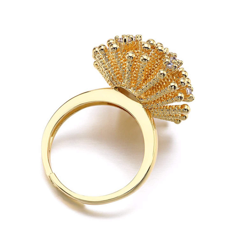 salmoph cadia Adjustble Women Rings Zircons Rhinestones Bling Flower Cz Ring Flower Rock Jewelry,9,White Rose,As Pic